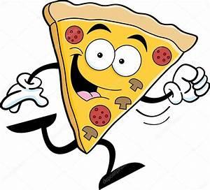 Rebanada de pizza de dibujos animados corriendo Vector de stock © kenbenner #34276657