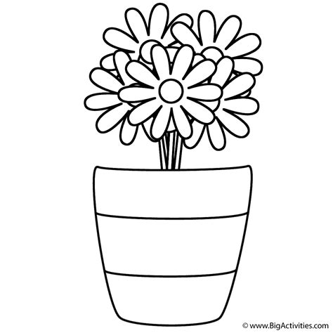 Flowers in Vase with Stripes Coloring Page (Summer)