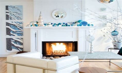Blue and white christmas decorations, christmas fireplace