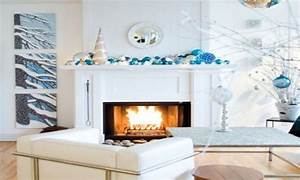Blue And White Christmas Decorations Christmas Fireplace