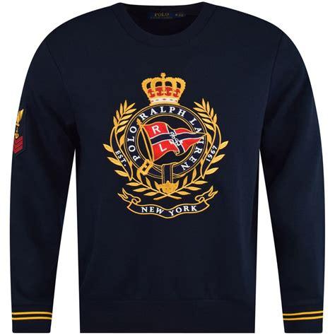 polo ralph lauren navy embroidered crest logo sweatshirt