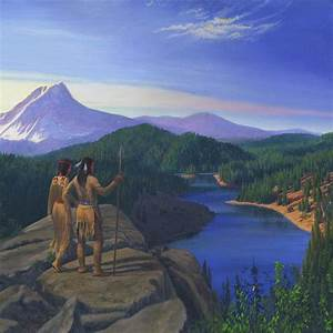 Native American Indian Maiden And Warrior Watching Bear