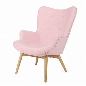 Fauteuil Scandinave Tissu : fauteuil scandinave en tissu rose iceberg maisons du monde ~ Teatrodelosmanantiales.com Idées de Décoration
