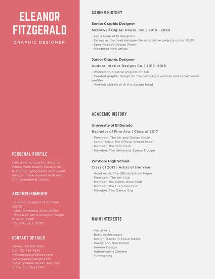 Graphic Design Resume Template by Customize 1 077 Resume Templates Canva