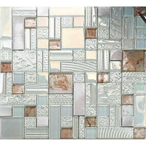 tile sheets for kitchen backsplash deluxe glass metal mosaic sheets brushed aluminum 8506