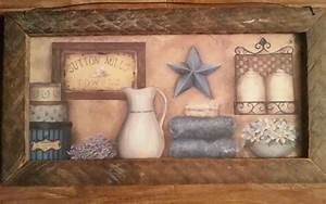 Primitive bath wall decor country bathroom