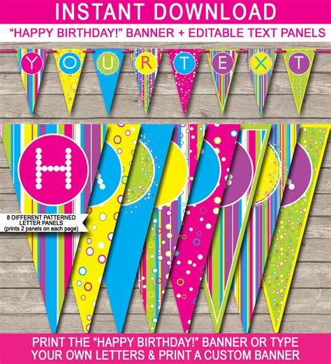 colorful banner template happy birthday banner