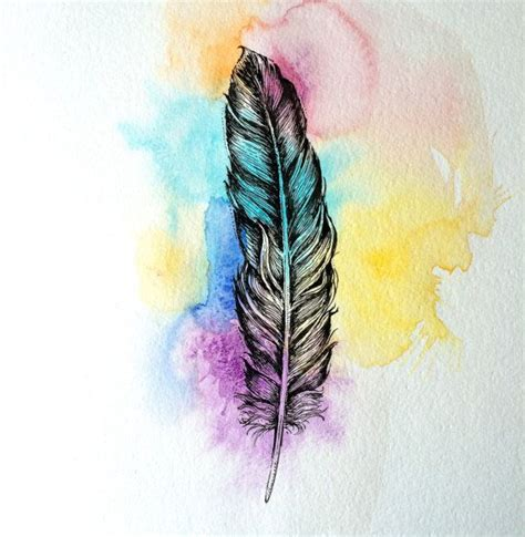 feder bunt colorful feather original drawing zeichnungen und zeichnen
