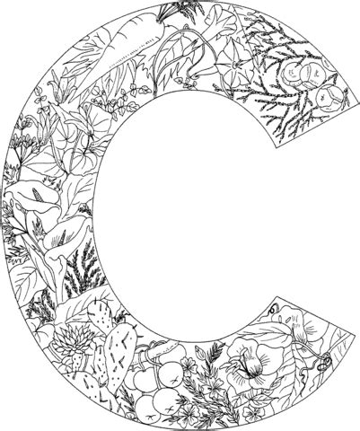 Letter C coloring page from English Alphabet with Plants