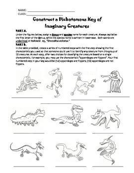 Construct A Dichotomous Key Of Weird Wacky Creatures! (grades 511