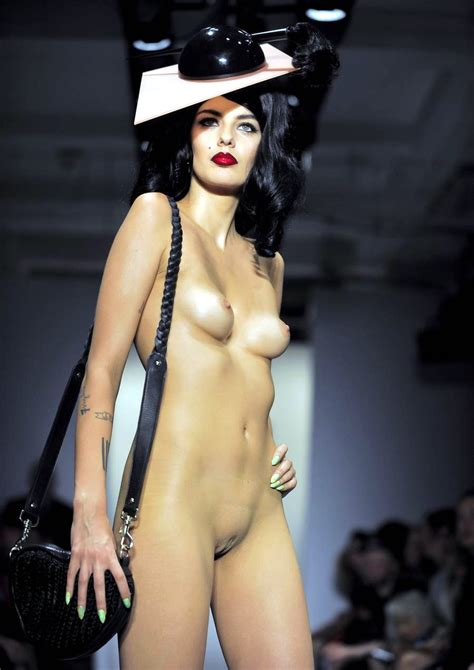 nude models on the runway