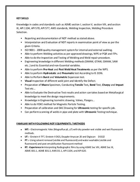qc welding inspector resume