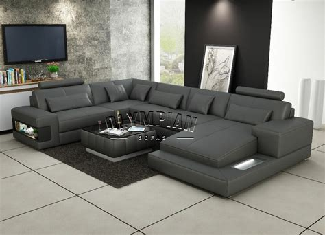 U Sofas by Modern Large Leather Sofa Corner Suite New Grey U Shape