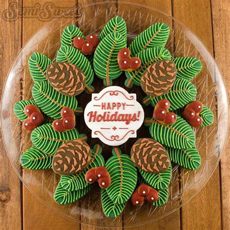 pine wreath  berries decorated christmas cookie platter