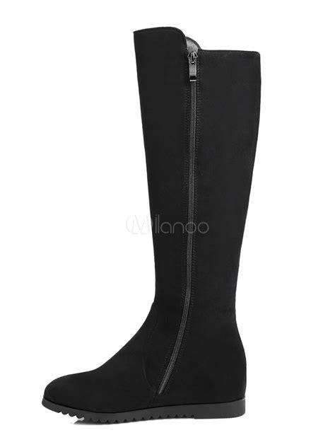 black knee high boots women suede shoes  toe zip