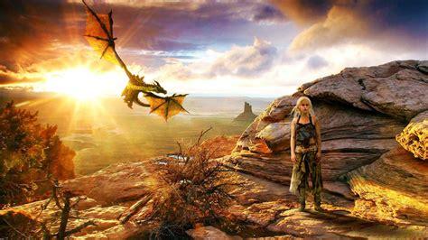daenerys targaryen  dragon hd wallpaper wallpaperfx