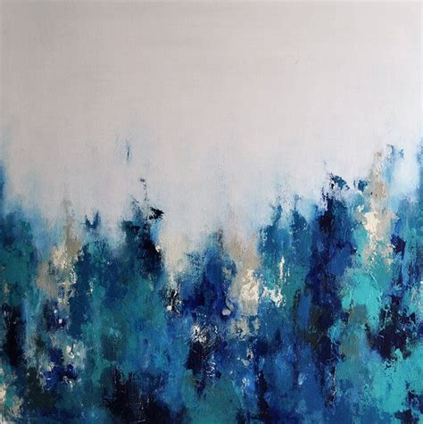 Abstract Black And Blue Painting by Original Abstract Palette Knife Painting Blue Grays