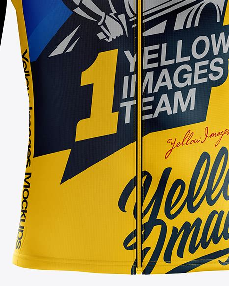 Free mockup in psd format. Download Mens Cross Country Jersey Mockup Back View Yellow ...