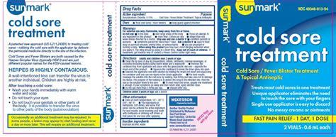 cold sore treatment mckesson fda package insert