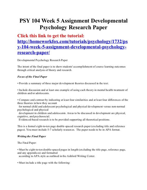 Apa Psychology Paper Exles by Psy 104 Week 5 Assignment Developmental Psychology