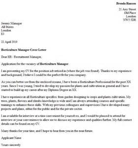 Horticulture Manager Resume by Horticulture Manager Cover Letter Exle Icover Org Uk