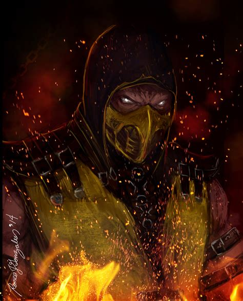 mortal kombat  wallpaper scorpion hellfire fanart  grapiqkad