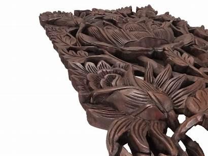 Roses Carving Wood Teak Reclaimed Akha Panel