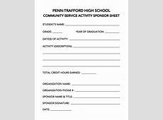 Community Service Forms PennTrafford High School CAP