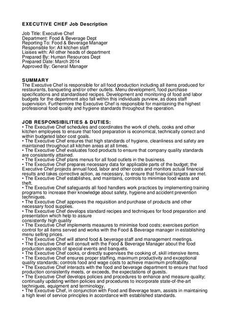 Kitchen Manager Work Description by Executive Chef Description