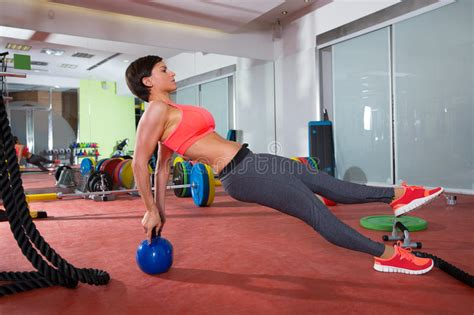 kettlebell crossfit woman exercise push ups fitness pushup workout kettlebells kettle rear sit training attractive gym doing came workouts side