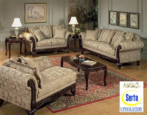 Beige Clarissa Carmel Fabric Traditional 2pc Sofa Set W
