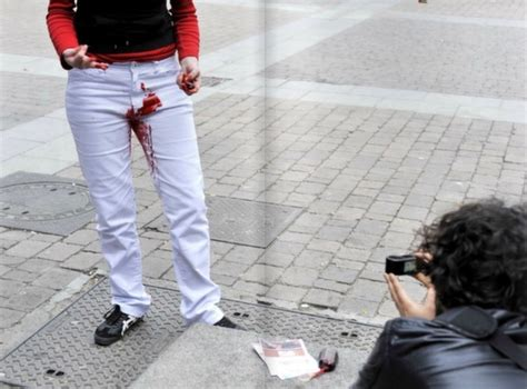 blood pants stained menstrual wear feminist statement designtaxi