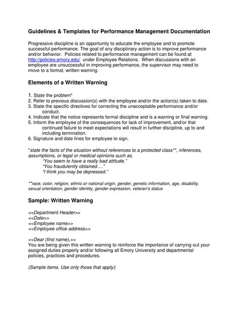 employee warning letter examples  google docs
