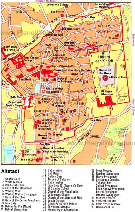 map   city jerusalem planetware  double gate