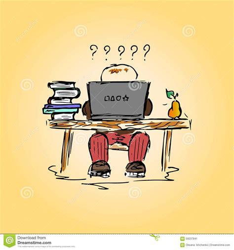 travailler dans un bureau illustration d 39 un étudiant dans un bureau au travail