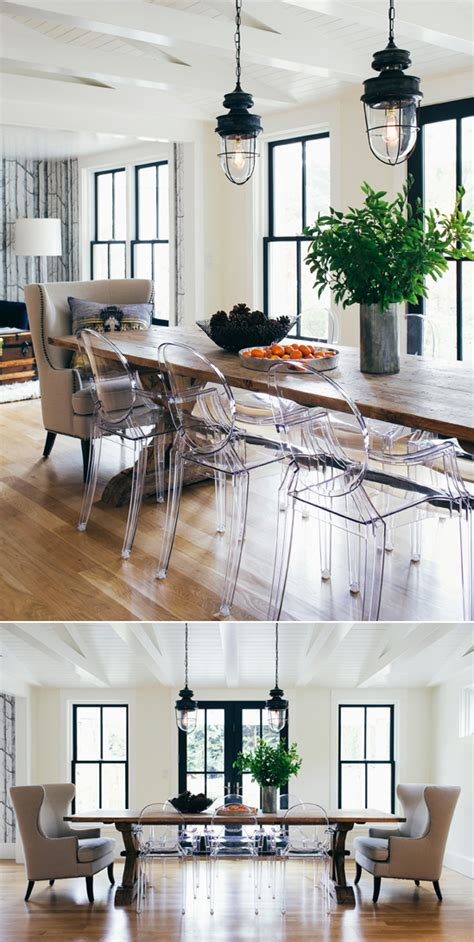 ghost chairs with wood table industrial lights and wood table and clear ghost chairs in