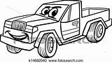 Coloring Cartoon Pickup Clipart Fotosearch Mascot Pick Vehicle Comic Character Illustration Children Funny sketch template