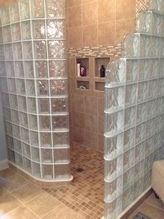 glass block shower with ready for tile base in columbus ohio