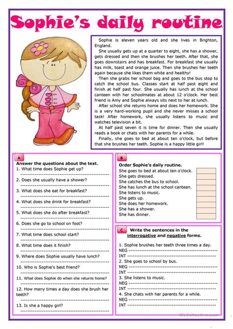 sophies daily routine worksheet  esl printable