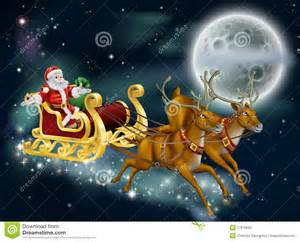 santa on delivering gifts on christmas eve stock vector image 27818500