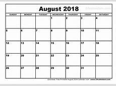 August 2018 Calendar printable 2017 calendars