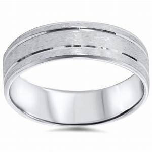 Mens 6mm Flat Brushed Comfort Fit Wedding Band Ring 14K