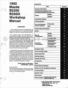 1992 Mazda Pickup Truck Repair Shop Manual Original B2200  U0026 B2600i