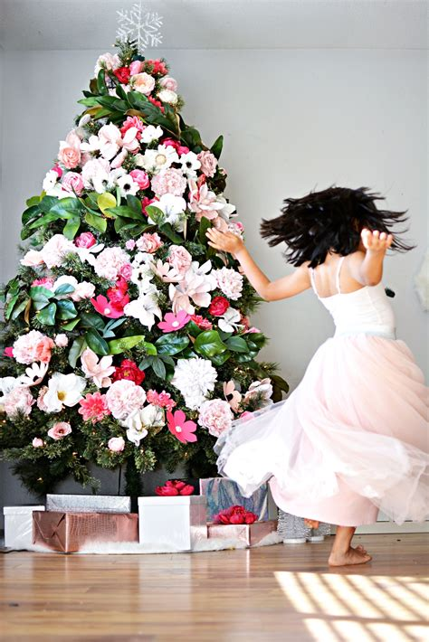 diy floral christmas tree  inspiration