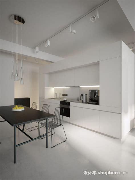 black and white contemporary kitchen 厨房轨道射灯装修效果图 设计本装修效果图 7843