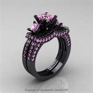 black and pink engagement rings 14k black gold three princess light pink sapphire engagement ring wedding band