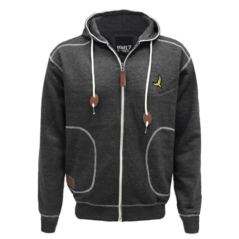 quilted hoodie mens mens quilted cord patch hooded zip jumper sweatshirt