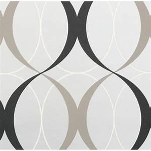 Beacon House 56 sq. ft. Circulate Gray Retro Orb Wallpaper ...