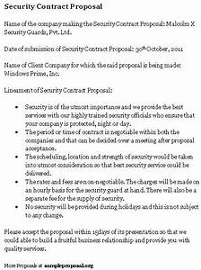 security guard contract proposal benjaminimagescom With security contracts templates