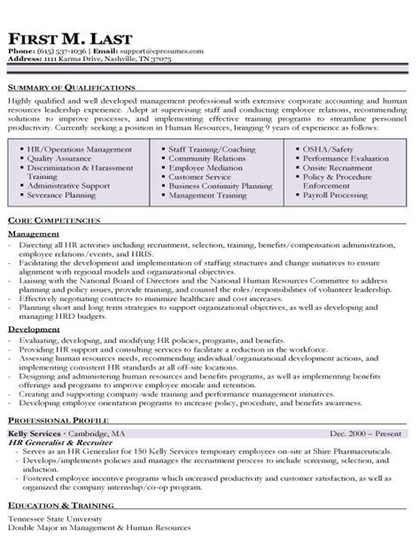 Hr Generalist Functional Resume by Resume Sles Types Of Resume Formats Exles And